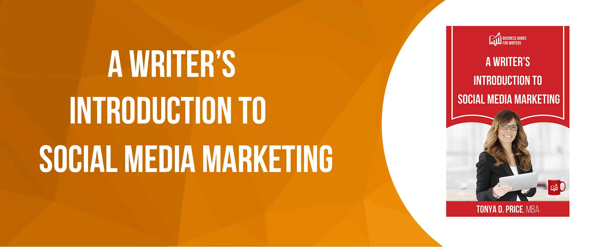A Writer's Introeduction to Social Media Marketing book cover on a slider